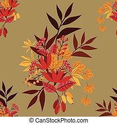 seamless, floral, pattern., automne