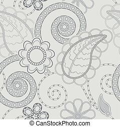Seamless background with floral paisley pattern, editable vector illustration