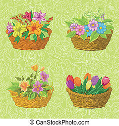 Seamless floral pattern, baskets with flowers