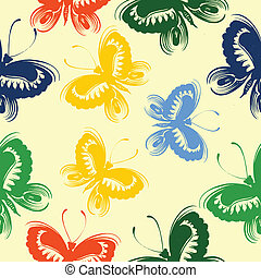 Seamless floral pattern butterfly