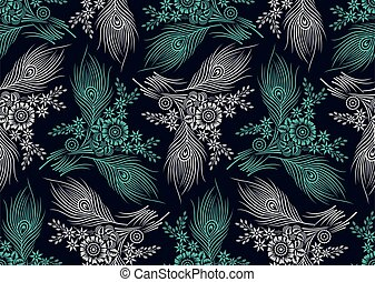Seamless floral pattern design with peacock feather