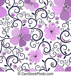 Seamless floral pattern with curls and flowers (vector)