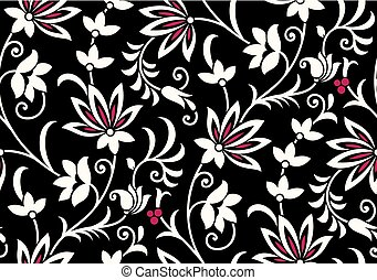 Seamless floral pattern for textile fabrics