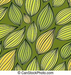 Seamless floral pattern, green leaves seamless background, hand