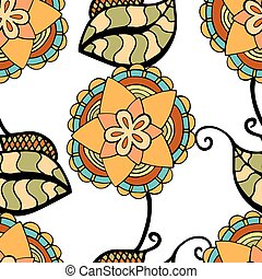 Seamless Floral Pattern. Hand Drawn Floral Texture,...