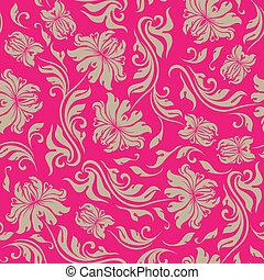 seamless floral pattern - Seamless floral pattern. Beige...