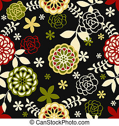 Seamless floral pattern in retro night colors