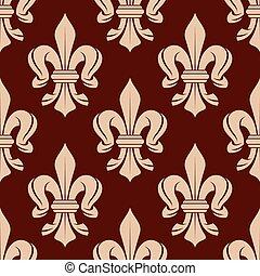 Seamless floral pattern of french fleur-de-lis symbols