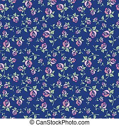 Seamless floral pattern on a blue b