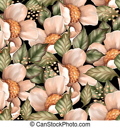 Seamless floral pattern on black background.