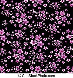 Seamless floral pattern on black background