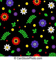 Seamless Floral Pattern on Black Background. Vector