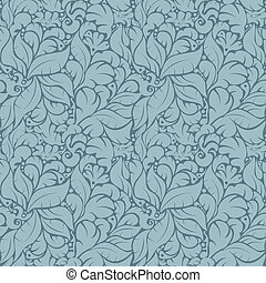 Seamless floral pattern on blue background