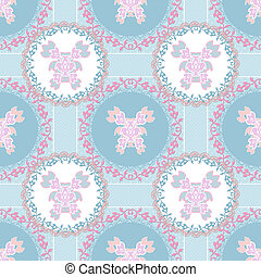 Seamless floral pattern on blue