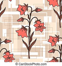 Seamless floral pattern on geometric background with...