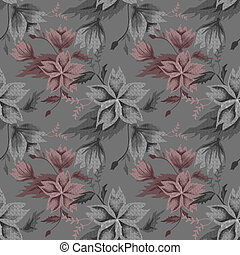 Seamless floral pattern on grey
