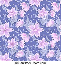 Seamless floral pattern on purple