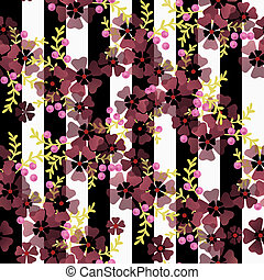 Seamless floral pattern on striped background