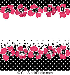 Seamless floral pattern on white with polka dots black