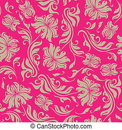 Seamless floral pattern. Beige flowers on a red background.