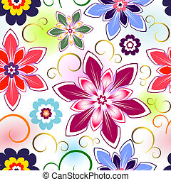 Seamless vivid floral pattern with colorful spots (vector EPS 10)
