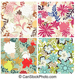 seamless floral pattern set - Seamless vector floral pattern...