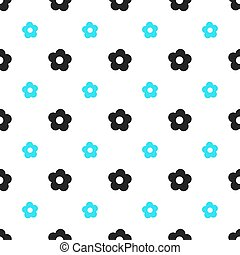 Seamless floral pattern spring summer abstract vector design decoration white background with aqua blue and black flowers