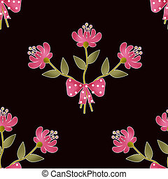 Seamless floral pattern texture on black background