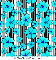 Seamless floral pattern texture on striped background