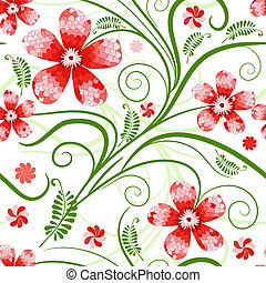 Seamless floral pattern with handwork mosaic red flowers...