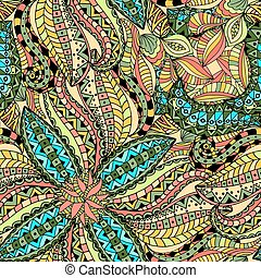 Seamless Floral Pattern. Vector illustration. Hand Drawn...