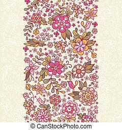 Seamless floral pattern with a bird and flowers.