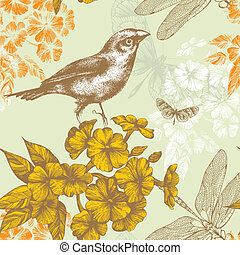 Seamless floral pattern with a bird flying butterflies and dragonflies. Hand drawing. Vector