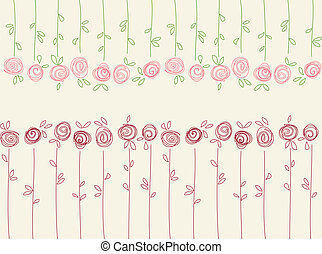 Seamless floral pattern with abstract roses flowers. Vector...