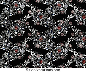 Seamless floral pattern with Asian design elements