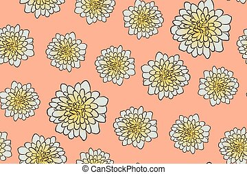 Seamless floral pattern with beige aster flowers