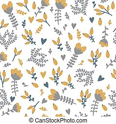 Seamless floral pattern with berries in doodle style on white background