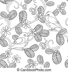 seamless floral pattern with birds for your coloring page