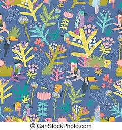 Seamless floral pattern with birds on blue background