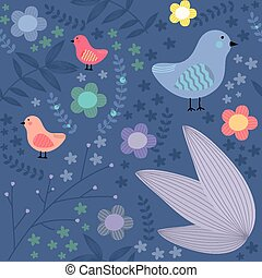 Seamless floral pattern with birds