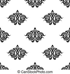 Seamless floral pattern with black flowers