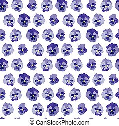 Seamless floral pattern with blue flowers violas