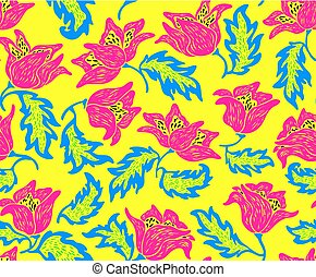 Seamless floral pattern with bright colorful flowers