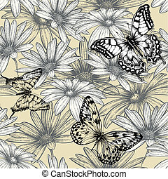 Seamless floral pattern with butterflies, hand drawing. Vector illustration.