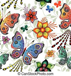 Seamless floral pattern with butterflies (vector)