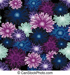 Seamless floral pattern with colored daisy flowers on dark background
