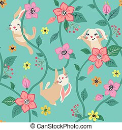 Seamless floral pattern with cute bunnies. - Seamless floral...