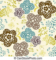Seamless floral pattern with cute flowers