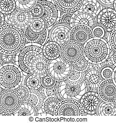 Seamless floral pattern with doodles and cucumbers Black and white version.