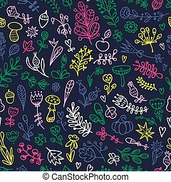 Seamless floral pattern with doodles flowers, branches, leaves, herbs, and plants.